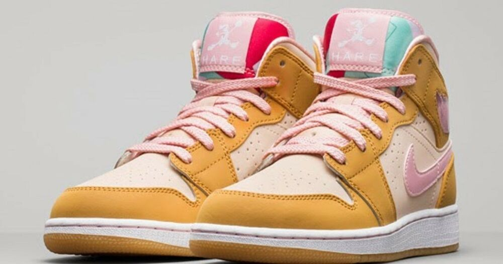 new styles 5a673 d13f0 Details about NEW AIR JORDAN 1 RETRO MID HARE GG GS LOLA BUNNY Wheat Pink  724072-730 Size 5.5Y