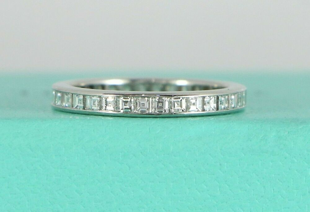 855ac2acb Details about $6,200 Tiffany Co Platinum Square Asscher Diamond Eternity  Wedding Band Ring 4.5