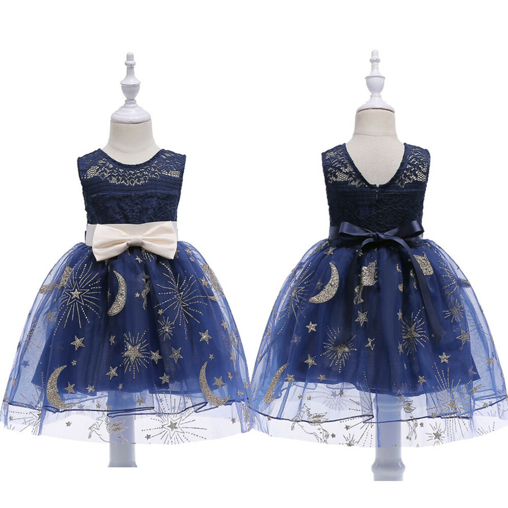 23fedc7664 Kids Girls Princess Wedding Sleeveless Sundress Lace Dress Summer ...