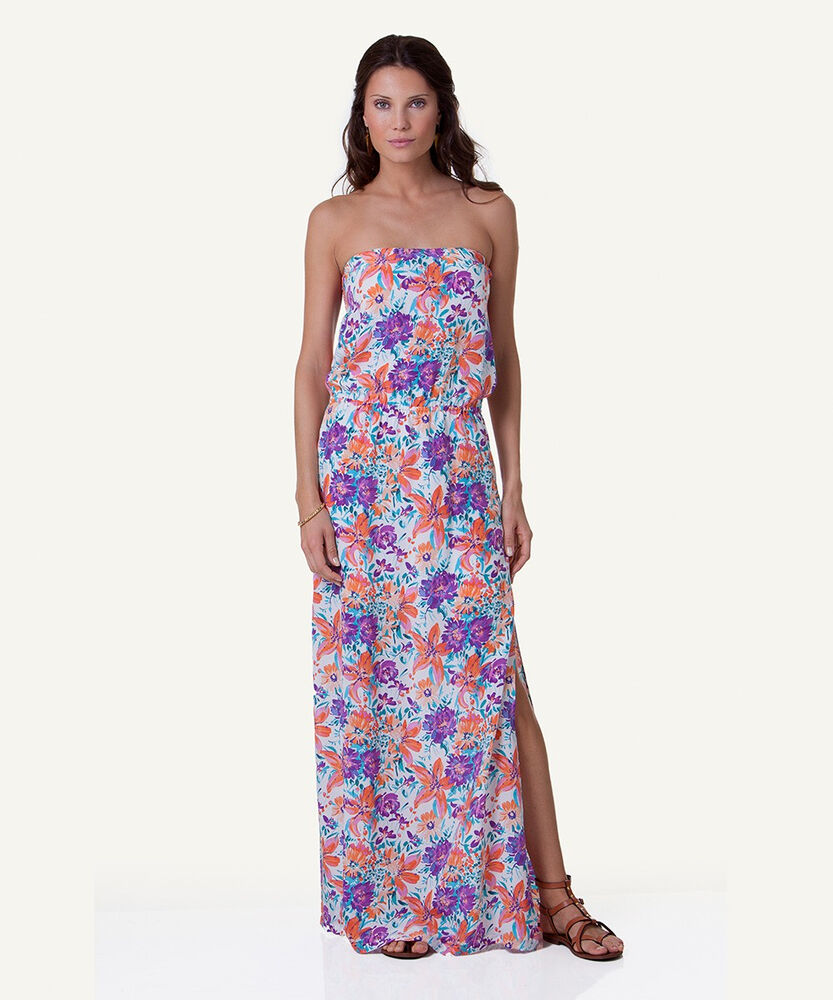 83933caf4a452 ViX By Paula Hermanny *NWT* Odette Floral-Print Silk Blouson Maxi Dress ~  MEDIUM 822253046785 | eBay