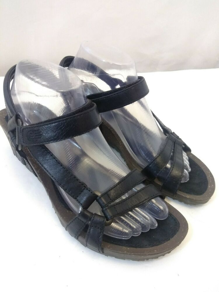 6118bd9b45f6 Details about Teva Women s Wedge Sandals With Ankle Strap Size 9 - S N 4253  Black Leather