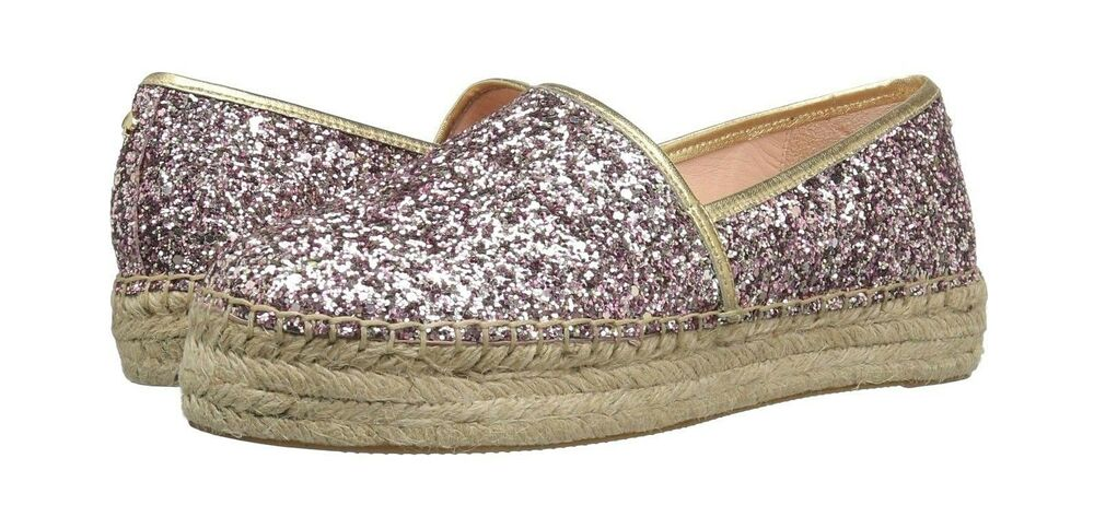 3a8c8b6ae2be Kate Spade Linds Too Espadrilles Leather Rose Gold Multi Glitter Sz 9  888445783296