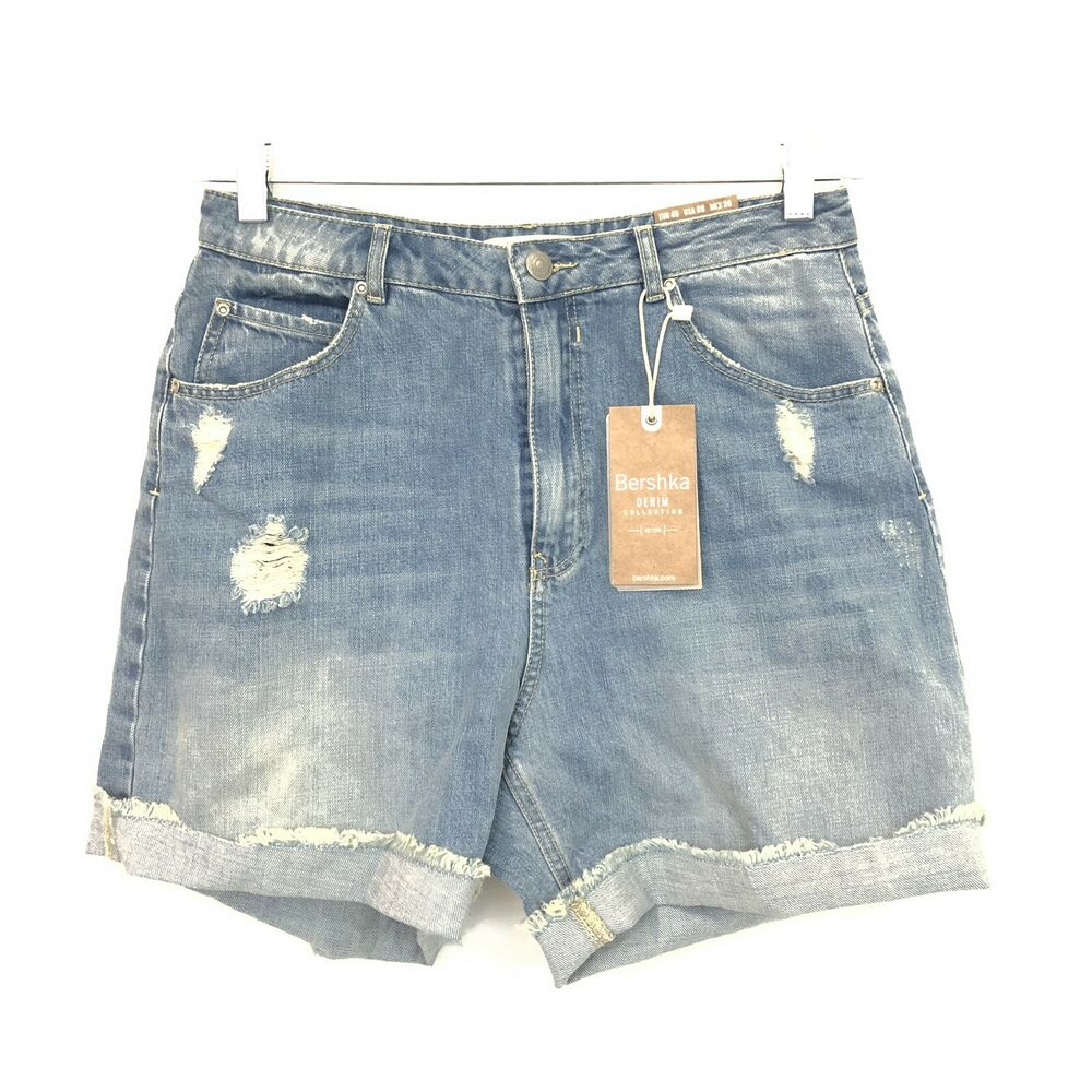 61877f5250 Details about Bershka Denim Collection Size 8 High Waist Distressed Mom Jean  Shorts