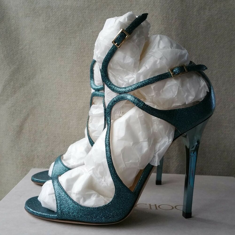 8302eb4691f5 Details about Jimmy Choo Lang 38 Blue Metallic Glitter Wrap Strappy Cage Sandals  Heels