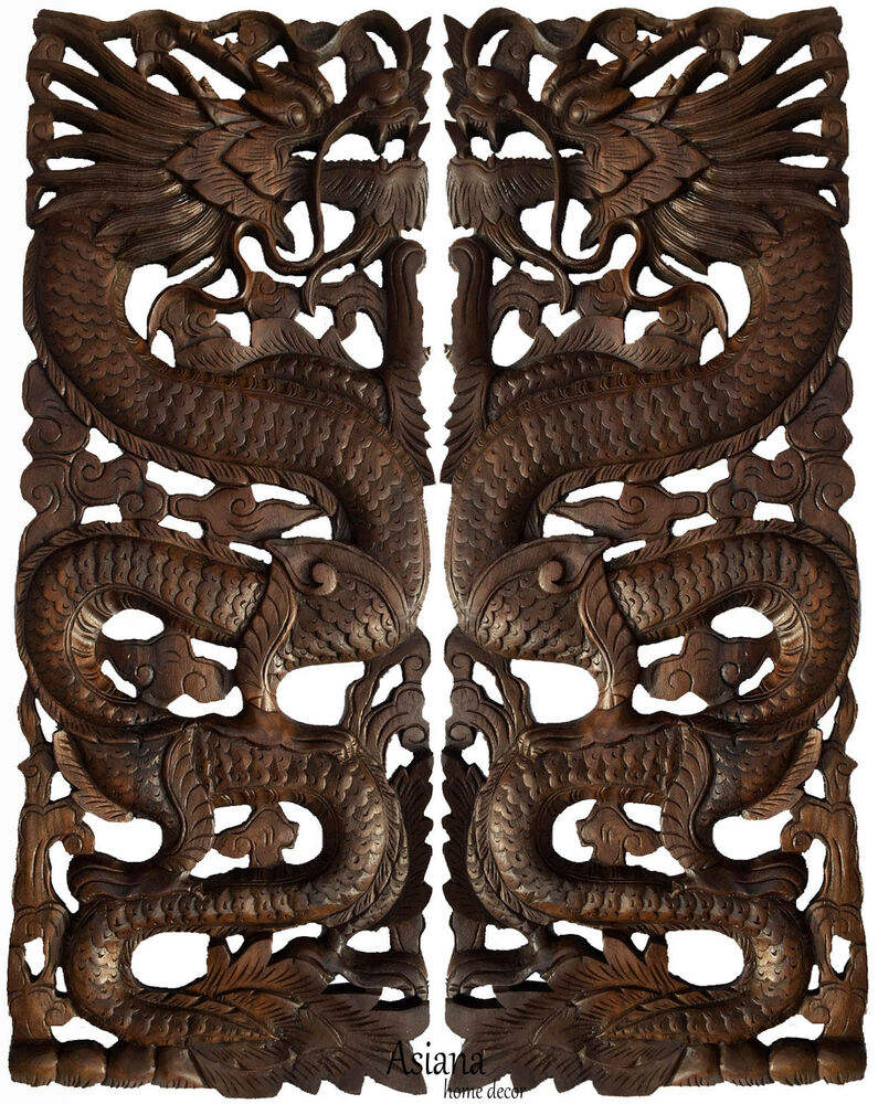 Lucky Chinese Dragon Carved Wood Panels Asian Home Decor