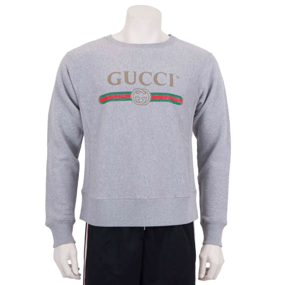 4e6a5539f Details about GUCCI $1050 Gray Cotton Gucci Logo Print Sweatshirt