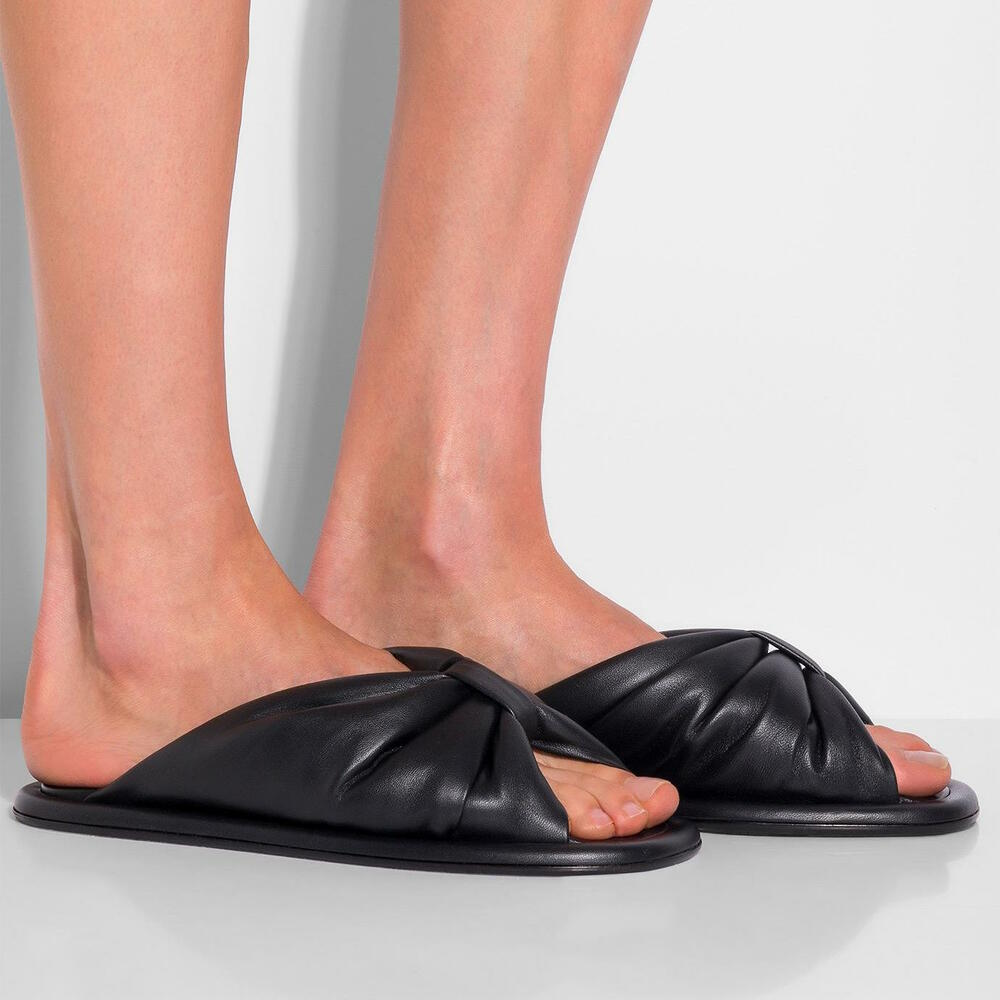 5d6a9260907 Details about BALENCIAGA Knotted Leather Slides Slippers Sandals in Black  Size 39