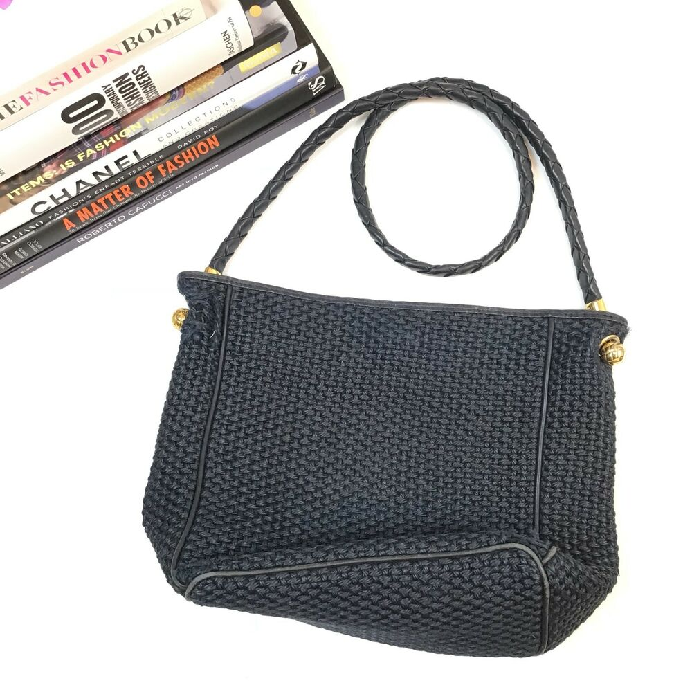 Leather Woven Bag Navy