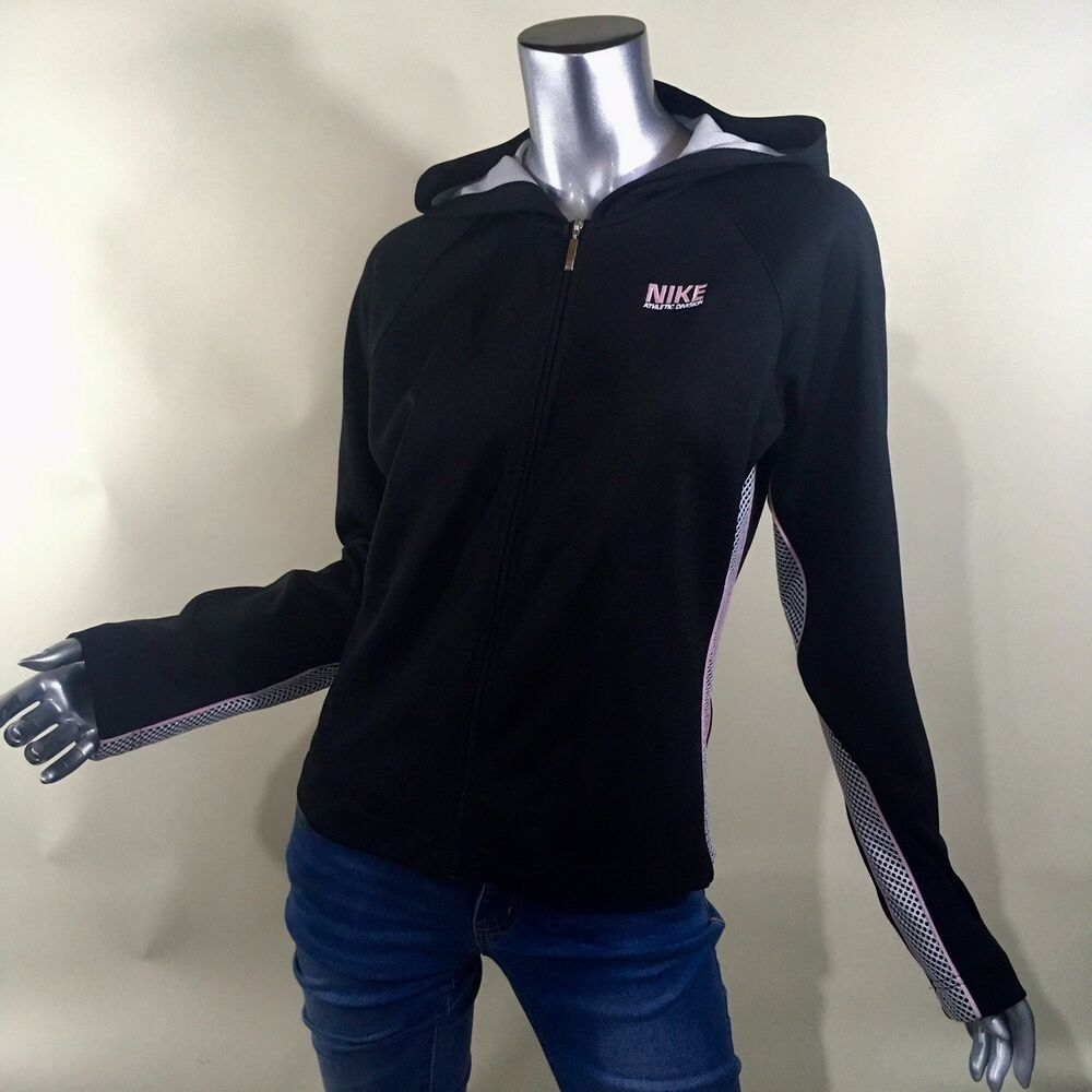 34afdfa1148d Details about NIKE Athletic Division Women s Black White Pink Zip-up Jacket  Hoodie Size M 8-10