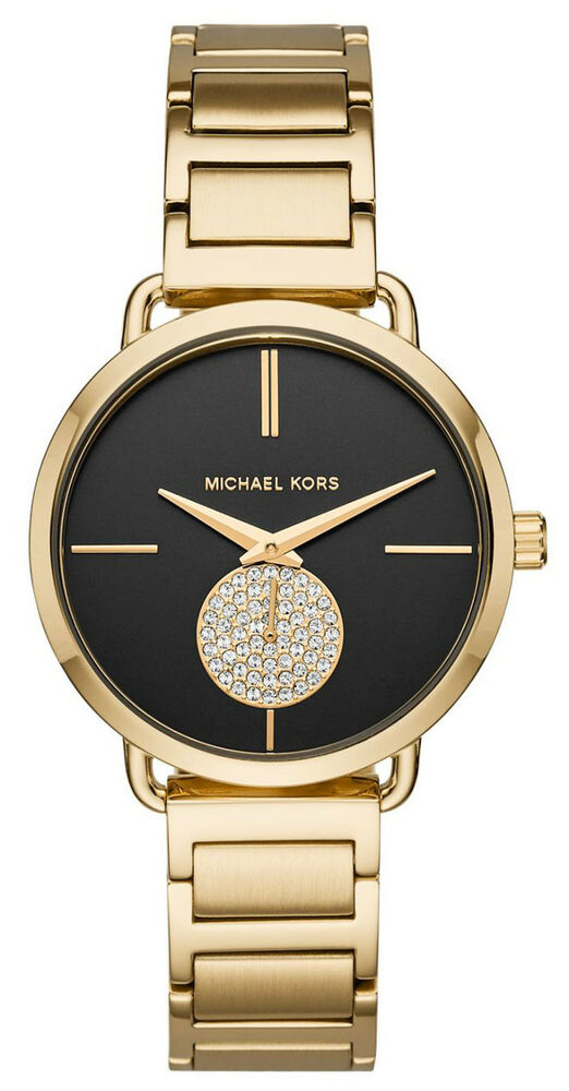 69bfba9d4806 Details about Michael Kors MK3788 Portia Black Dial Gold Tone Stainless  Steel Women s Watch