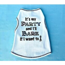 I'ts My Party Dog or Cat T Shirt for Dog or Cat Birthday with Rhinestone Accents