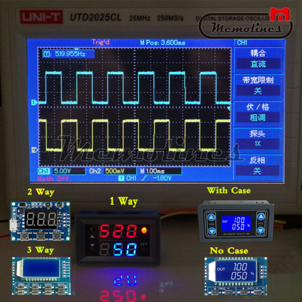 Adjustable PWM Pulse Frequency 1/2/3Way Signal Generator Module Duty Cycle