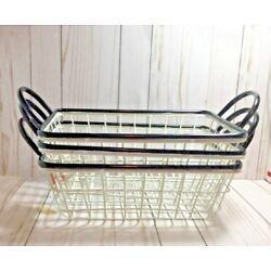 SET OF 3 FARMHOUSE BLACK & WHITE WIRE METAL BASKETS W/ Handles  by Ruby Flippers