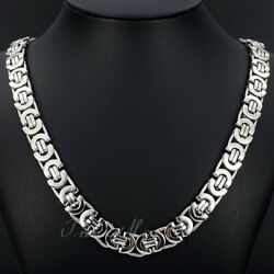 11mm Men's Silver Flat Byzantine Chain Necklace 316L Stainless Steel 18