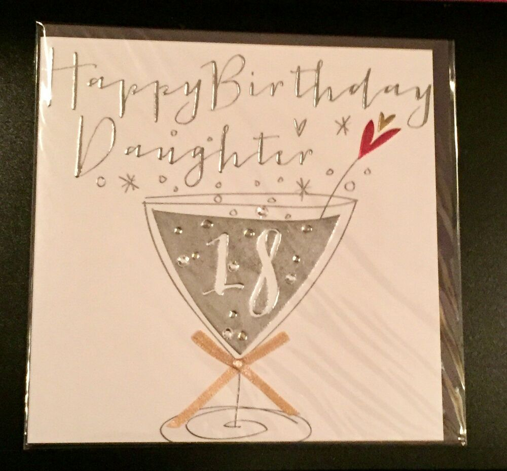 Details About 18th Birthday Card Happy Daughter Gorgeous V Stylish Crystal Bling 18