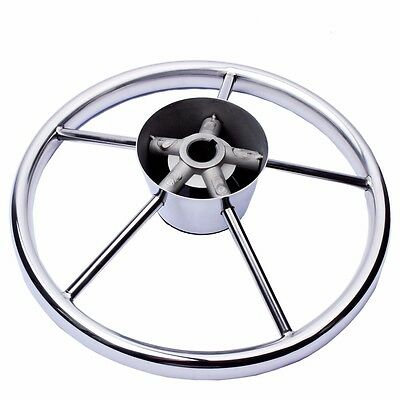 Boat Stainless Steel 5 Spokes 11'' Steering Wheel for Marine Yach with PVC Cap