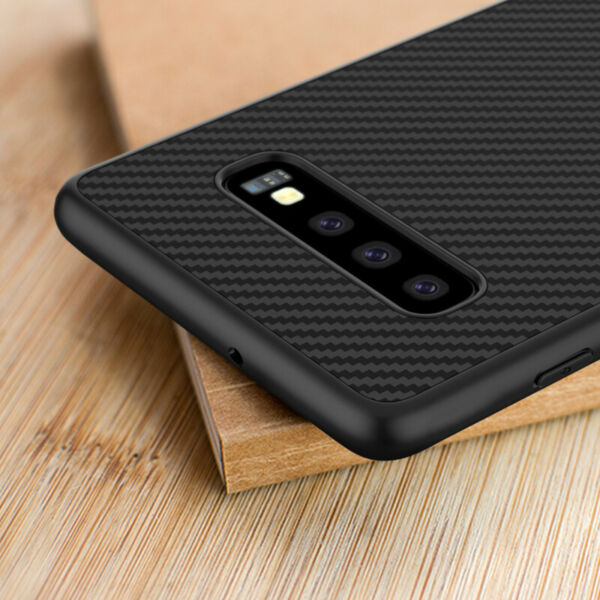 For Samsung Galaxy S10 Plus S10E Synthetic Carbon Fiber Magnetic Back Case Cover