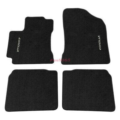 For 14-18 Toyota Corolla Floor Mats Carpet Nylon Black + Corolla Embrodery