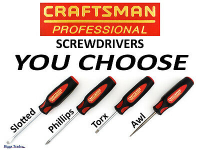 Craftsman (USA) Professional Screwdriver YOU CHOOSE Slotted, Phillips, Torx, Awl