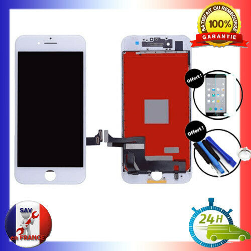 VITRE TACTILE & ECRAN LCD RETINA S/ CHASSIS IPHONE 7 BLANC + OUTILS + VERRE 24H