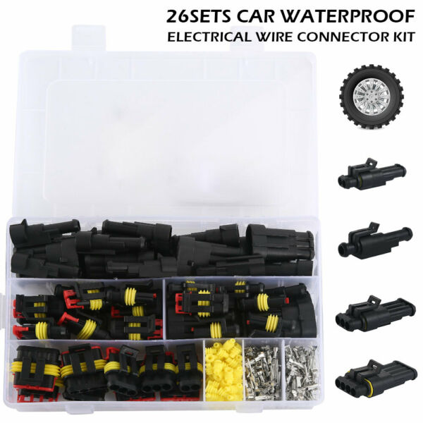 26 Kit 2/3/4 Pin Way Seal Car Impermeabile Cavo elettrico Connettore Spina IT
