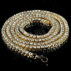 Kyпить 14k Yellow Gold Flooded Out Iced Lab Diamond Mens 1 Row Tennis Chain Necklace на еВаy.соm