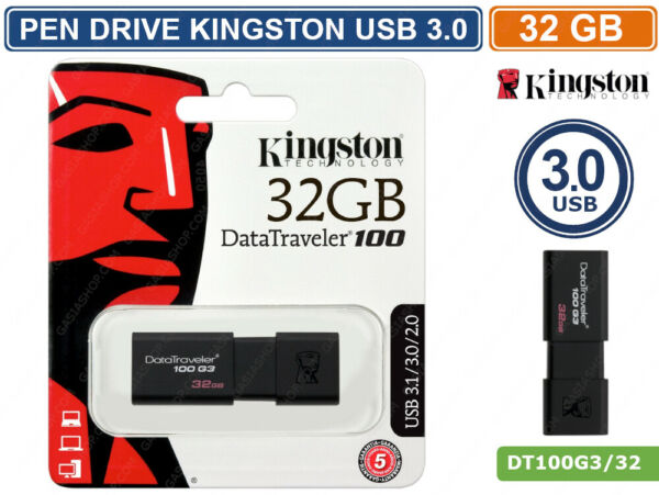 PEN DRIVE KINGSTON DT100G3/32GB USB 3.0 DATA TRAVELER 32GB PENNETTA CHIAVETTA