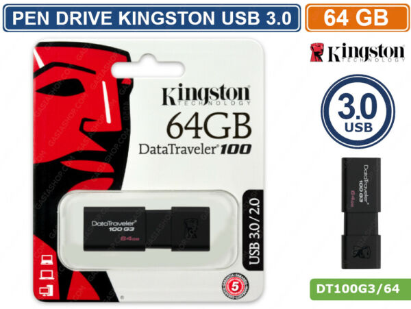 PEN DRIVE KINGSTON DT100G3/64GB USB 3.0 DATA TRAVELER 64GB PENNETTA CHIAVETTA