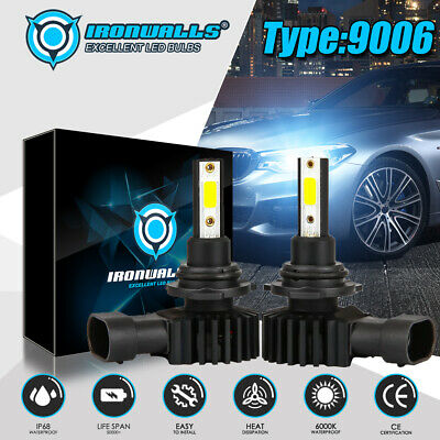 IRONWALLS 9006 HB4 LED Headlight Kits FOG Bulbs Hi/Low Beam 2400W 360000LM 6000K
