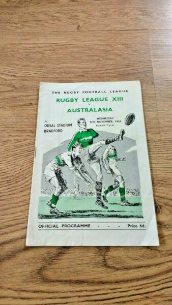 Rugby League XIII v Australasia 1954 Rugby League Programme