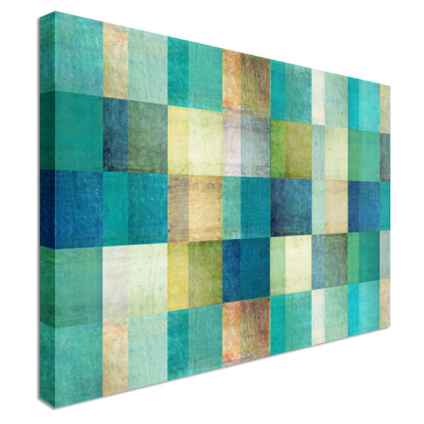 Turquoise Rectangle Pattern Canvas Wall Art Picture Print