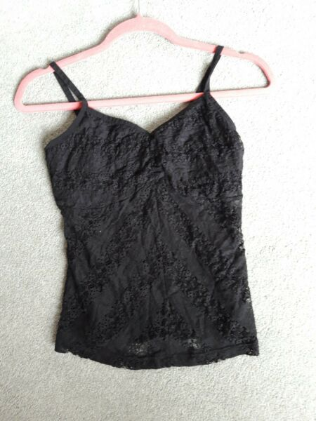 Secret Possessions Very Lacey, Strappy and Stretchy Black Camisole