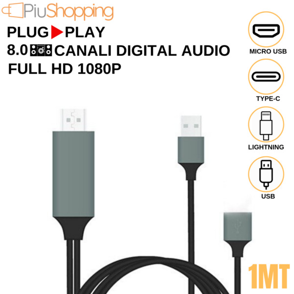 CAVO ADATTATORE VIDEO FULL HD USB HDMI HDTV TV PER IPHONE SAMSUNG HUAWEI XIAOMI