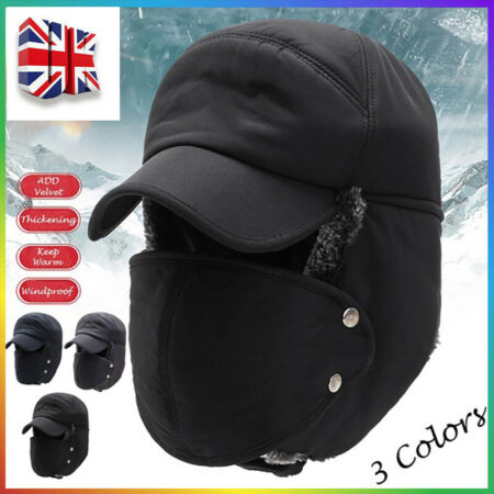 img-Mens Aviator Trapper Hat Winter Earflap Warm Russian Face Mask Ski Cap Outdoor