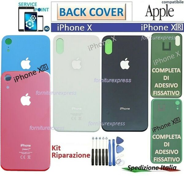 BACK COVER SCOCCA POSTERIORE PER APPLE IPHONE X XR NERO BIANCO BLUE VETRO