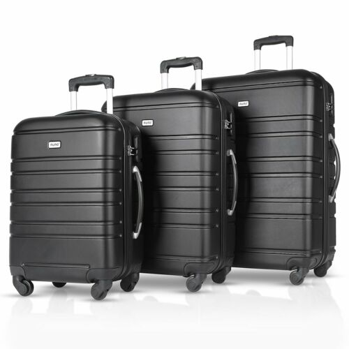 """3PCS Luggage Travel Set ABS Spinner Bag Trolley Suitcase w/ Lock 20"""" 24"""" 28"""""""