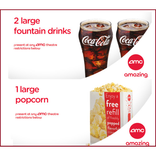 AMC Theaters 2 Large Drinks Coke & Large Popcorn    Fast E-Delivery Exp 6/30/20