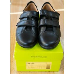 Hotter Comfort Concept Leap Womens Black Leather Two Strap Shoes Size 8.5 W