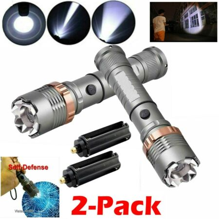 img-2PC Powerful 900000Lumens Flashlight T6 LED Zoom Focus Military Tactical Torch