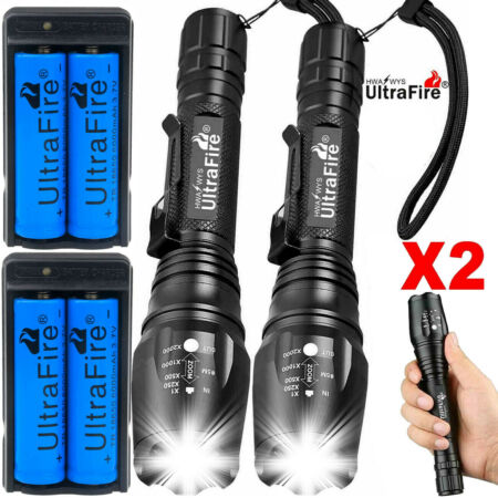 img-1000000LM T6 LED Rechargeable High Power Torch Flashlight Lamps Light &Charger^