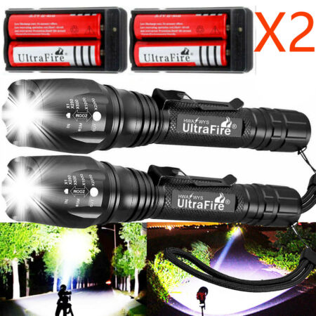 img-1200000LM Zoomable T6 LED Rechargeable Torch Flashlight Light Lamp+ Charger`