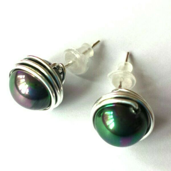 8mm peacock black shell pearls silver filled stud earrings