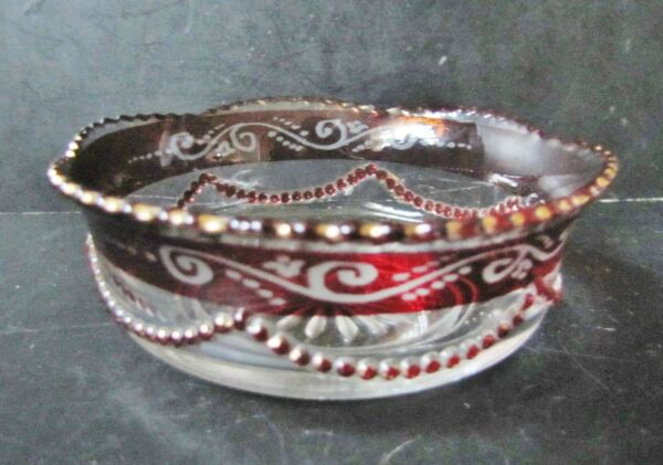 Small Antique 4in Cadmium Flashed Cranberry Red BOWL with Saw Tooth Rim