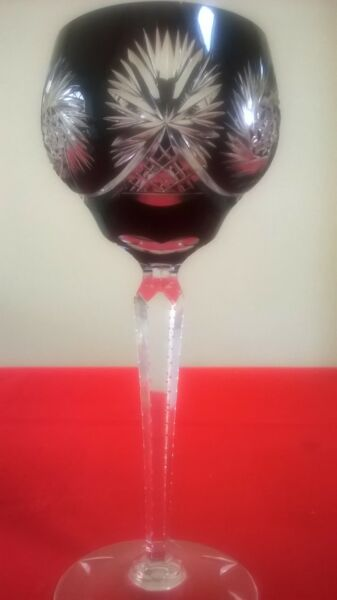 BOHEMIAN  STYLE CUT DARK RED FLASHED CRYSTAL HOCK WINE GLASS notched STEM