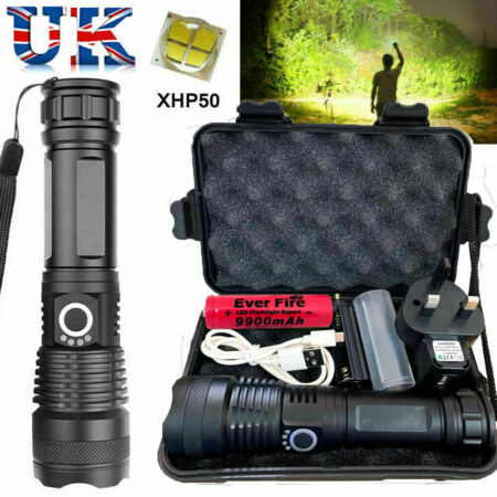 img-900000 Lumens XHP50 High Power Zoom LED Flashlight Torch Rechargeable Headlamp