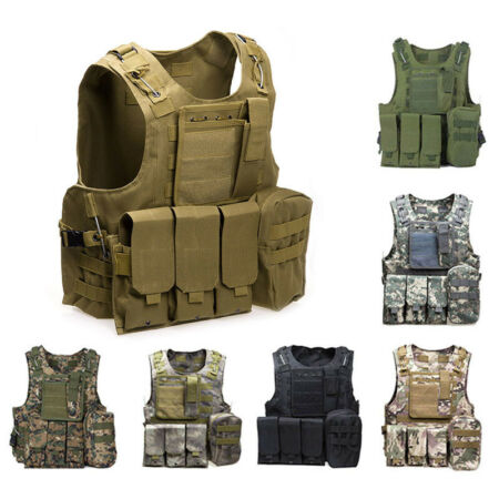 img-Tactical Military Vest Waistcoat Airsoft Molle Combat Assault Plate Carrier UK