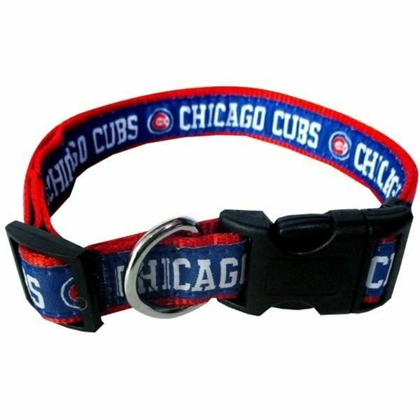 Chicago Cubs Mlb Pet Dog Nylon Adjustable Collar All Sizes