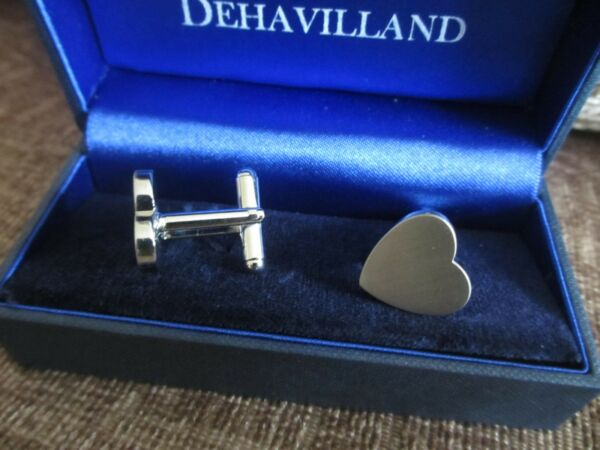New Mens Dehavilland heart shape cufflinks  engravable xmas gift  giftboxed