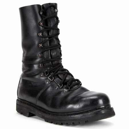 img-Austrian Army Black Leather Combat Boots Half Lined Genuine Military Surplus
