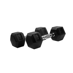 POWERT Rubber Coated Hex Dumbbell Hand Weight Set, Avail 10-50 lbs, Pair/Single